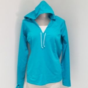 Lucy tech pullover active hoodie teal blue GUC lrg